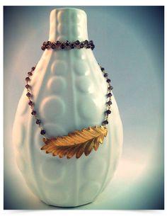 smokey quartz and brass leaf necklace by sweetBella on Etsy, $72.00