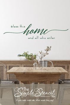 "Easy to install vinyl wall decal design that reads: Bless this home and all who enter"" and comes in a variety of sizes and colors to match your decor. Looks great in a dining area, gathering space, family room or anyway your friends and family gather. Many other design styles available however this one was created for an updated look. Our decals actually look painted on yet they are removable. #blessthishome #blessourhome #homeblessings #foyer #entryway #welcome #welcomesign #diningroomdecor Yarn Wall Art, Big Wall Art, Family Room Walls, Dining Room Walls, Entryway Decor, Wall Decor, Entryway Ideas, Monogram Wall, Rustic Wall Art"