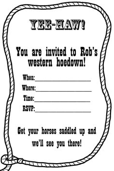Free Western Invitation Templates | You can make these lasso invitations yourself by saving this template: