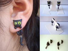 Black Cat Clinging Earrings by KittyAzura.deviantart.com