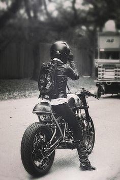 Cafe Racer. Biker Girl.