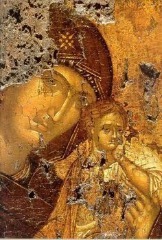 Matka Boska z Dzieciątkiem, XiV w. Byzantine Icons, Byzantine Art, Religious Icons, Religious Art, Fresco, Tempera, 3 4 Face, Christian Artwork, Russian Icons