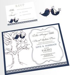Love Birds Wedding Invitation DIY Printable Navy Blue by zulay, $40.00
