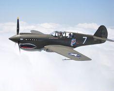 "A Curtiss P-40 Warhawk from the the 1st American Volunteer Group (AVG) of the Chinese Air Force in 1941–1942, famously nicknamed the ""Flying Tigers""."