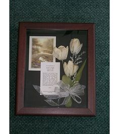 Memorial Shadow Box. @Jennifer Shoemaker maybe one of her poems printed w/ the wedding flowers
