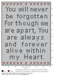 """""""You will never be forgotten for though we are apart, You are always and forever alive within my Heart."""" wall hanging"""