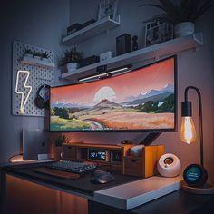 Home Studio Setup, Home Office Setup, Home Office Design, House Design, Computer Gaming Room, Computer Desk Setup, Gaming Room Setup, Pc Setup, Configuration Home Studio