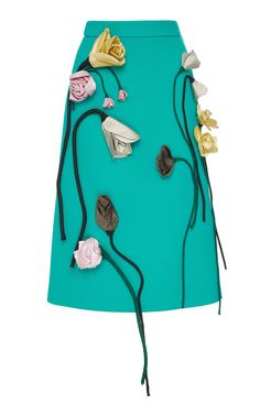 Wool Flower Appliqué Midi Skirt by PRADA for Preorder on Moda Operandi Fashion Details, Diy Fashion, Fashion Dresses, Womens Fashion, Fashion Design, Embroidery On Clothes, Embroidered Clothes, Wool Skirts, Mini Skirts
