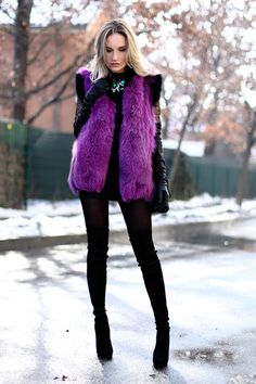 Purple fur vest