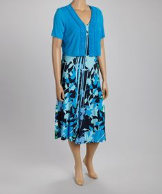 Love this Caribbean Blue Floral Midi Dress & Shrug - Plus by Danny & Nicole on #zulily! #zulilyfinds