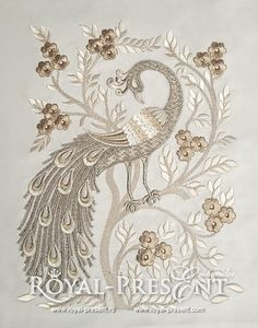 Machine Embroidery Design - Peacock by RoyalPresentEmb on Etsy https://www.etsy.com/listing/246426654/machine-embroidery-design-peacock