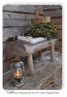 "---""The traditional 'vasta' (birch branches), 'kiulu' (wooden bucket) and linen to sit on, natural soap and a lantern to light up the path to the sauna in the darkness ; Driftwood Furniture, Primitive Furniture, Sauna Shower, Outdoor Sauna, Sauna Design, Finnish Sauna, Birch Branches, Sauna Room, Home Spa"