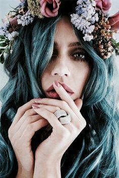 #blue #hair #flowers