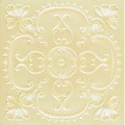 """Beautiful Decorative PVC Tiles. #217 Cream Pearl. Size: 24""""x24"""" Installation type: Glue up Price: 10.49 USD By Talissa Decor. http://www.talissadecor.com/catalog/glue-up-faux-tin-ceiling-tiles/faux-tin-white-ceiling-tiles"""