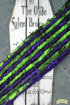 Purple Green and Black DE x10 Crochet synthetic dreads by blacksunshineiow on…