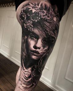 Tattoo artist Mark Wosgerau authors style black&grey portrait realistic tattoo   Denmark