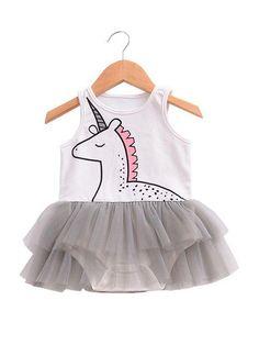 c8629a62f0ec Cartoon Unicorn Tulle Skirt-like Romper Bodysuit for Baby Girls