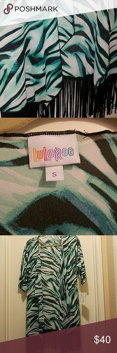 LULAROE Monroe Kimono Small Beautiful blends of green with black fringe Sheer fabric Perfect for layering any outfit or as swimsuit coverup Tags still attached LuLaRoe Accessories Scarves & Wraps
