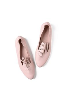 Fringe shoes Pink flats Pink leather shoes by LoulouBallerina