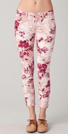 Large Floral Capri Skinny Jeans