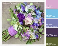 Orchid lavender, light cornflower blue, light violet, muted grape purple, and warm mossy green color palette