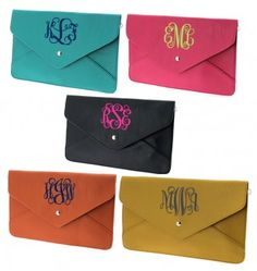 monogrammed envelope clutch i want one