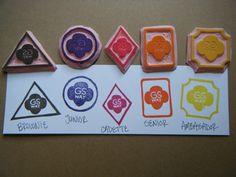 Girl Scout Way Badge Hand Carved Rubber Stamp (Brownie, Junior, Cadette, Senior, Ambassador)