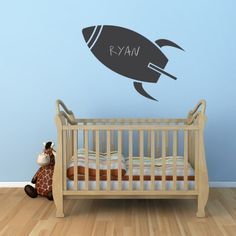 Blast off with this fun rocket chalkboard Wall Art Decal. Let your childs imagination soar! Chalkboard Wall Bedroom, Bedroom Wall, Outer Space Nursery, Water Bottle Design, Blackboards, Vinyl Wall Decals, Future Baby, Toddler Bed, Kids Room