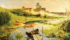 Речной пейзаж, русский художник Поленов Василий, русский пейзаж