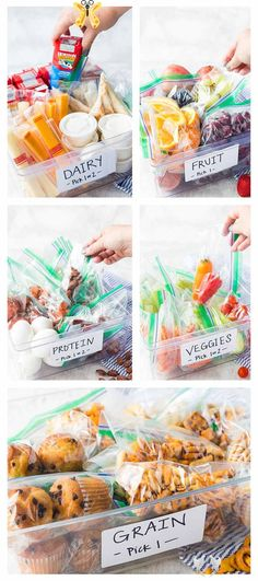 Kids Build Their Own Organic Lunch Routine - Easy Peasy Meals 5 bins full of organic foods for kids to build their own lunches with, making back to school lunches simple and fun. #ad #horizonorganic<br> This post is sponsored by Horizon Organic, all opinions are my own. Kids Build Their Own Organic Lunch Routine: Take the hassle out of lunch prep with a routine that allows kids to make their own lunches by selecting from a variety of organic ingredients that are mom approved–like Horizon… Kids Lunch For School, Healthy Lunches For Kids, Lunch Snacks, Clean Eating Snacks, Kids Meals, Healthy Snacks, School Lunches, School Meal, Lunch Kids