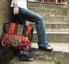 Hand Made bag/ Embroidery Tote Bag/Obliquely by littlePurser, $50.99