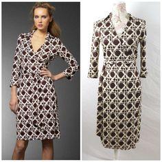 3897444d9f0c Diane Von Furstenberg Vintage Justin Wrap Dress Silk Sz 4 Brown Lattice  #DianevonFurstenberg #WrapDress