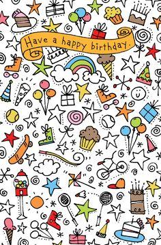 birthday doodles doodle happy drawing simple greetings geburtstag september dibujos drawings sss studio cards 2009 garabateados american note malen easy