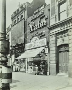 The 'Chocolate King' sweet shop, Upper Street, Islington 1944 Old Pictures, Old Photos, Vintage Photos, Vintage London, Old London, North London, London Street, London City, London History