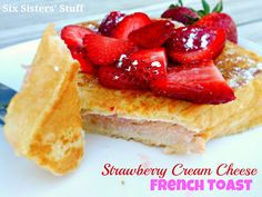 Puffy Strawberry Cream Cheese French Toast- my favorite breakfast! #recipe #breakfast #frenchtoast