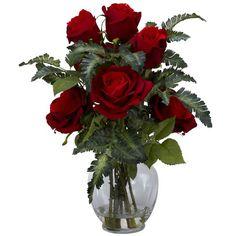 Rose w/Fern Silk Flower Arrangement: