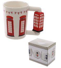 Novelty Ceramic Shaped Handle Telephone Box Mug - Pukka Gifts Office Canteen, London Decor, Novelty Mugs, Cool Mugs, Kitchen Dishes, Ceramic Mugs, Office Gifts, Mug Designs, Bars For Home