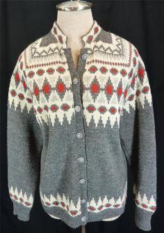 Vintage Norwegian wool cardigan sweater from Viking King