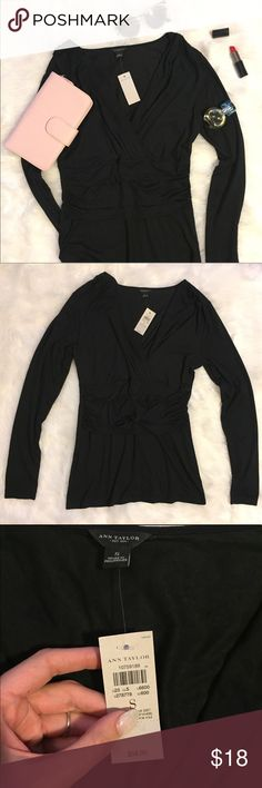 NEW Ann Taylor black blouse Brand new with tags. Super flattering cut and extra soft fabric. The plunging neckline is sexy and sophisticated. Feel free to ask questions and makes reasonable offers! 😘 Ann Taylor Tops