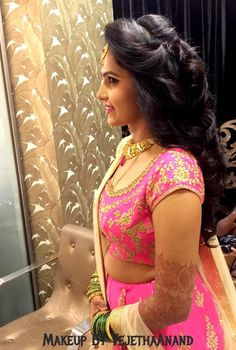 Indian Bride S Bridal Reception Hairstyle By Vejetha For Studio Saree Blouse
