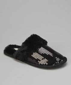 Take a look at this Black Sequin Slippers - Women by Capelli New York on #zulily today!