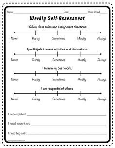 Use this free form for student self-assessment. It is one of a collection of 7 free essential classroom forms. Get your collection by subscribing to the Savvy Teacher Solutions newsletter. Student Self Evaluation, Student Self Assessment, Behavior Reflection Sheet, Teacher Tools, Teacher Stuff, Co Teaching, Behavior Interventions, Class Rules, Learning Support