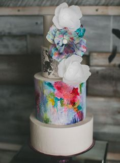Abstract Painted Cake by Hey There, Cupcake PHOTO SOURCE • STUDIO CASTILLERO