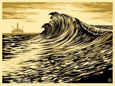 """Water is the New Black"" by Shepard Fairey. 18″ x 24″ Screenprint. Ed of 450 S/N."