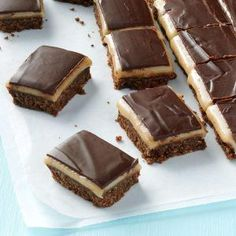 Kahlua Dream Bars Recipe -I always double this recipe so everyone gets a piece. For a glaze with deeper flavor use 1 ounce unsweetened chocolate and 2 ounces semisweet. Potluck Desserts, No Bake Desserts, Just Desserts, Dessert Recipes, Potluck Dishes, Potluck Recipes, Bar Recipes, Recipies, Ice Cream Desserts