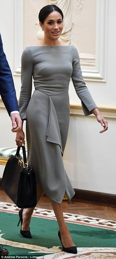 The Duchess of Sussex went from polished glam to casual cool in the space of an hour and a half after leaving President Higgins' home