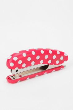 Marks Tokyo Edge Dot Stapler from Urban Outfitters. Saved to Ahh this pretty much describes me. Cute Office Supplies, Desk Supplies, Japanese Stationery, Connect The Dots, Erin Loechner, Fall Trends, Red And White, Pink White, Urban Outfitters