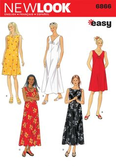 New Look Sewing Pattern 6866 Misses Dresses, Size A (S-M-L-XL): Misses Dress sewing pattern. New Look pattern part of New Look Summer 1999 Collection. Pattern for 5 looks. For sizes A (S-M-L-XL). New Look Patterns, Easy Sewing Patterns, Simplicity Sewing Patterns, Vintage Sewing Patterns, Clothing Patterns, Pattern Sewing, Sewing Ideas, Sewing Summer Dresses, Summer Day Dresses