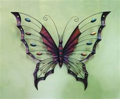 Decorative Metal Butterfly Garden Wall Art Black Brown