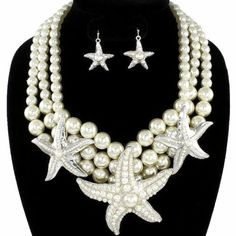 White-Pearl-Silver-Starfish-Chunky-Necklace-Set-Elegant-Nautical-Jewelry